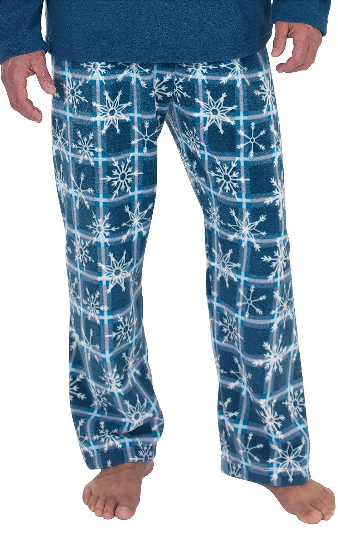 PajamaGram Snowflake Fleece Mens Pajamas with Long-Sleeved Top Blue XXL GKPJ03094-PAJ009676