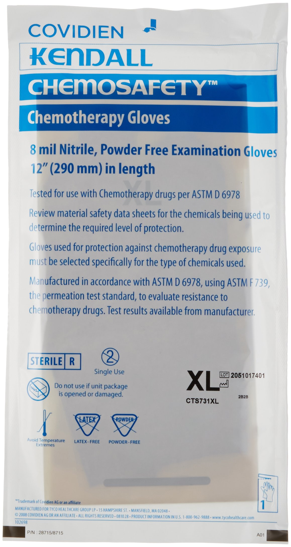 MedPlus CTS731XL ChemoSafety Nitrile Glove, Sterile, Beaded Cuff, Powder-Free, 8 mil Thickness, 12'' Length, X-Large (Case of 400)