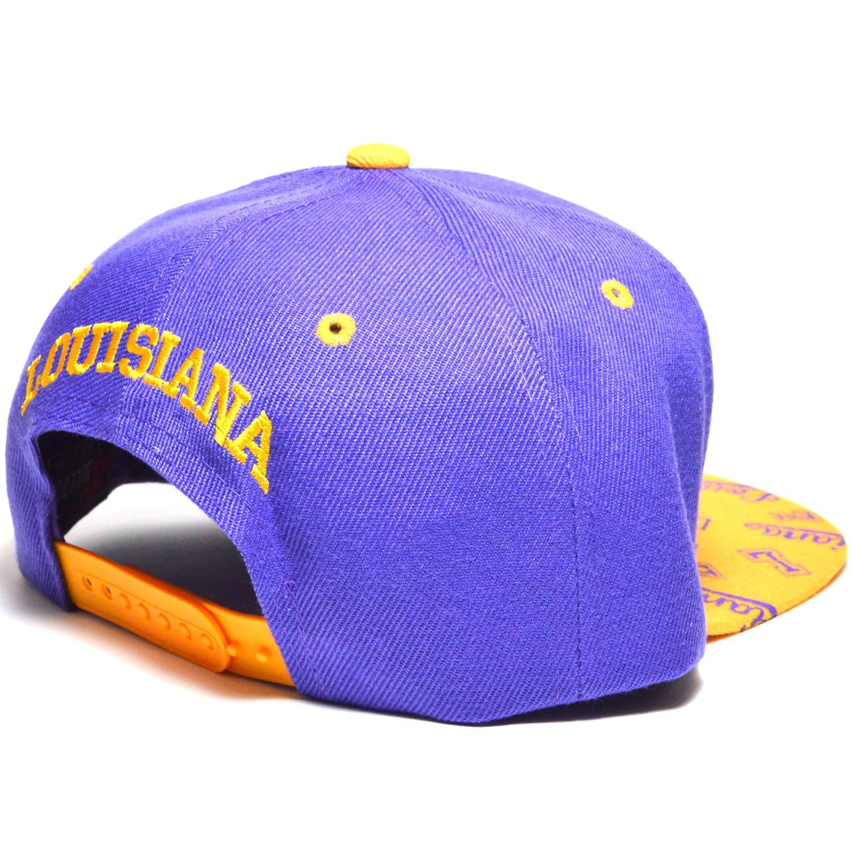 Louisiana Embroidered Flat Visor Snapback Bill Hear Wear Cap Baseball Hat AYO3063