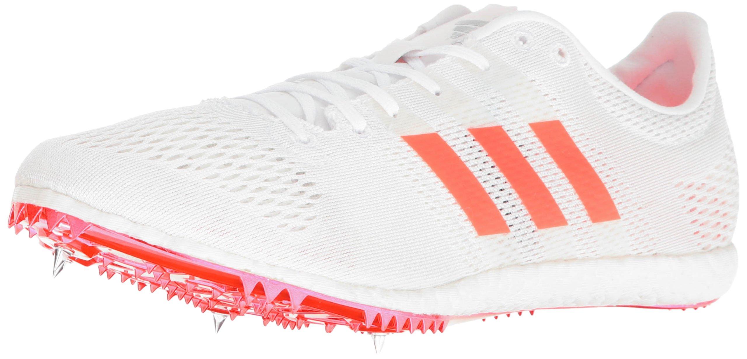 adidas Adizero Avanti Track Shoe, White/Infrared/Metallic/Silver, 9.5 M US
