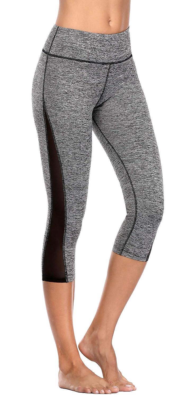 Grey Vegatos Women's Mesh Yoga Capri High Waisted Tummy Control Workout Leggings