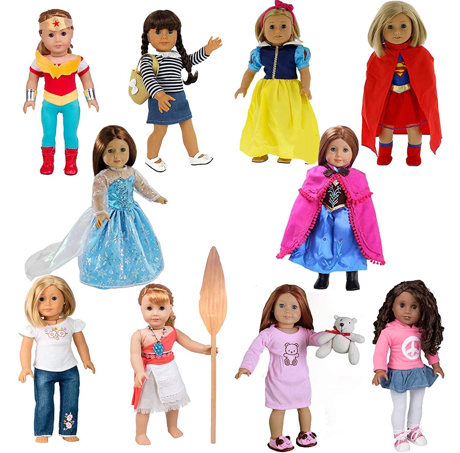Over 30 Pcs Dress Along Dolly 10 Unique Outfits Variety Pack for American Girl and Other 18 Inch Dolls Shoes and Accessories Included