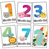 WOBBOX Baby Monthly Milestone Cards, Record 0-12 Months Growth Milestones Cards , Baby Shower Gift Scrapbook Photo Keepsake Monthly Age Markers Card (12 Pcs)