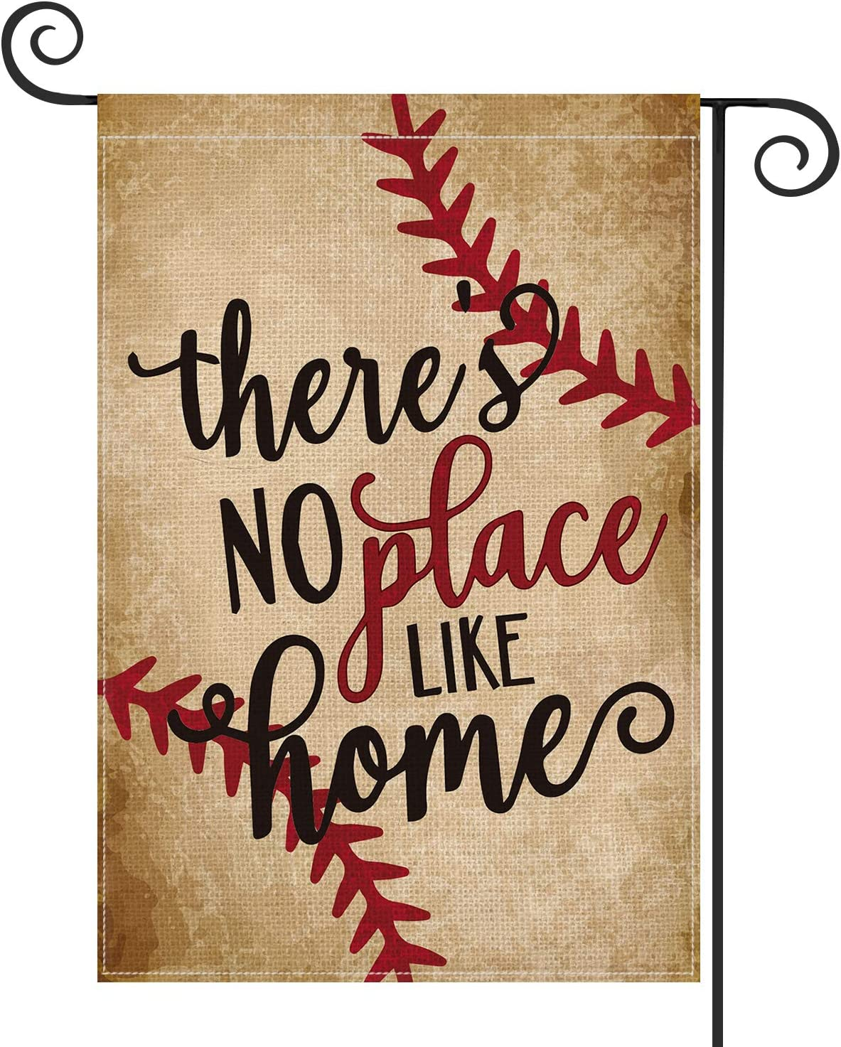 AVOIN Baseball Garden Flag Vertical Double Sided There's No Place Like Home, Bat Ball Sport Softball Flag Yard Outdoor Decoration 12.5 x 18 Inch