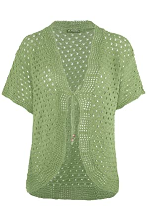 65102bb9c6 Oops Outlet Womens Ladies Tie Up Lace Bolero Short Sleeve Crochet Knit Cardigan  Top Shrug  Amazon.co.uk  Clothing