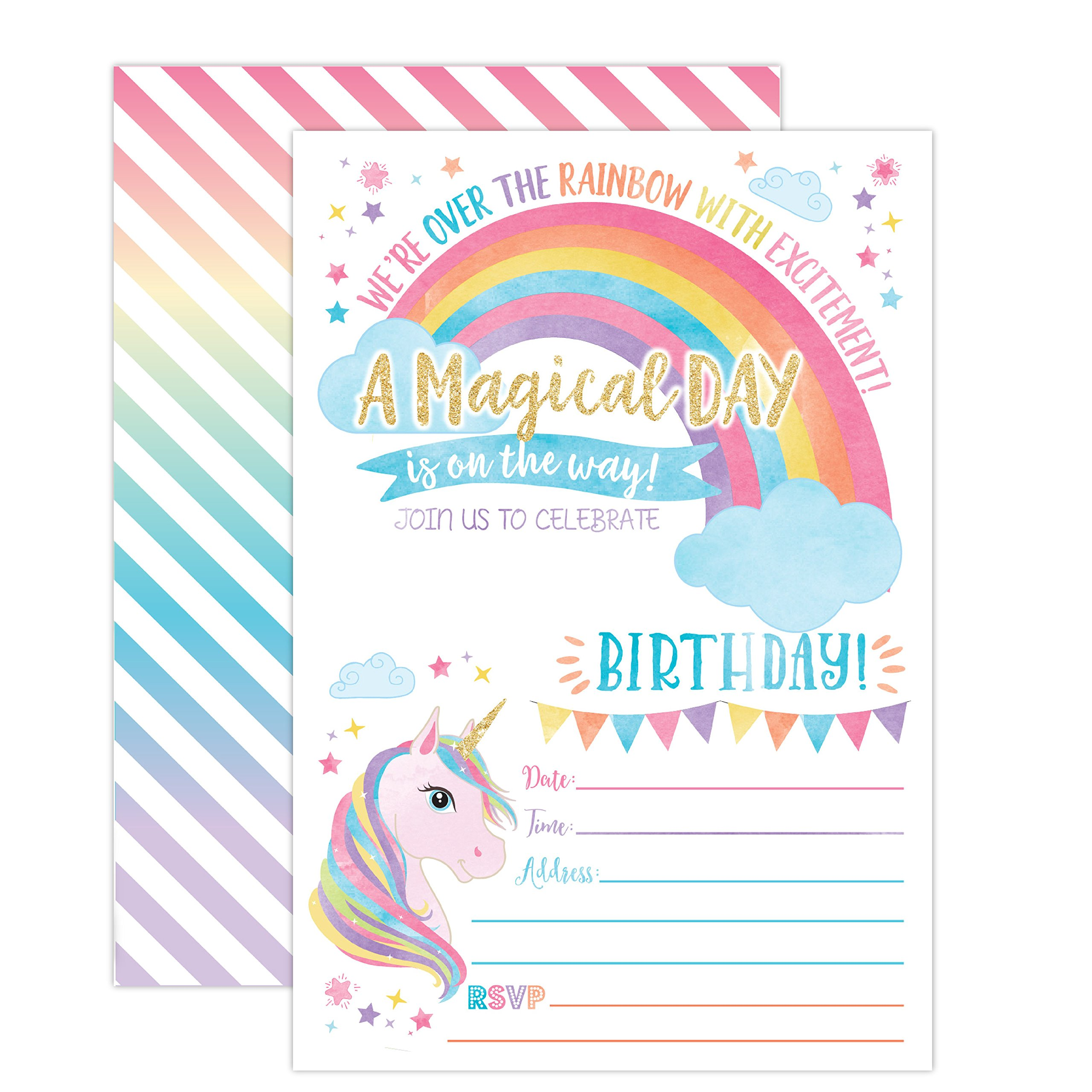Your Main Event Prints Unicorn Birthday Invitation, Unicorn Party Invite 20 Fill In Style with Envelopes