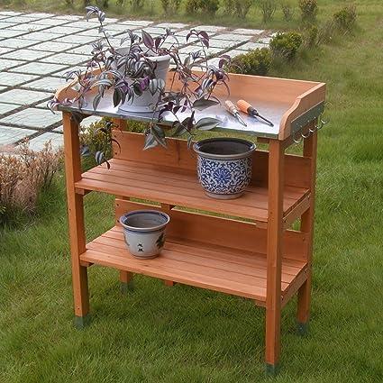 COSTWAY Outdoor Garden Wooden Potting Bench Work Station Table Tool Storage  Shelf W/Hook