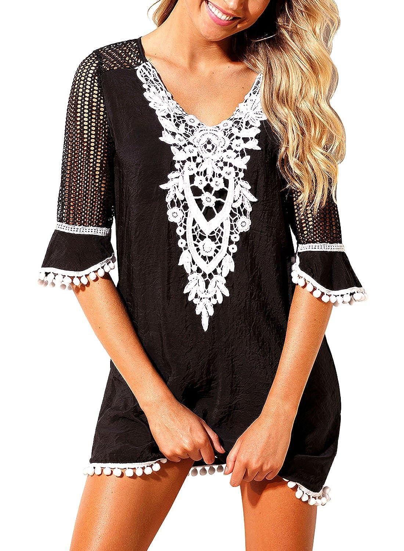 8e264dc77ba BLENCOT Women's Crochet Chiffon Tassel Swimsuit Bikini Pom Pom Trim  Swimwear Beach Cover Up at Amazon Women's Clothing store: