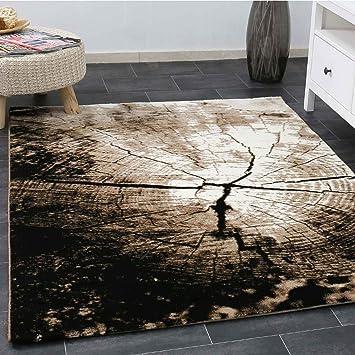 Moderner Wohnzimmer Teppich Braun Beige Baumstumpf Holz Optik Top