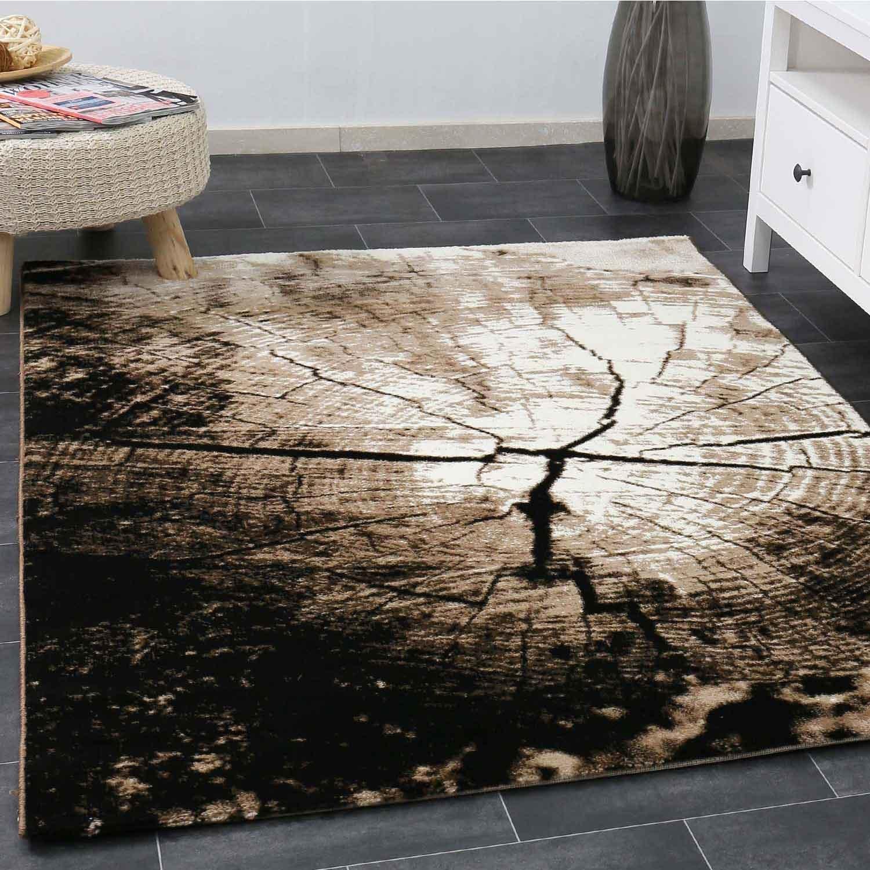 Moderner Wohnzimmer Teppich Braun Beige Baumstumpf Holz Optik Top Qualität 120x170 cm