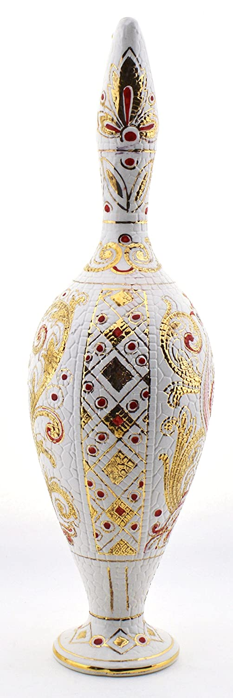 Art Escudellers Jarra Ceramica Pintado a Mano con Oro de 24K, Decorado al Estilo BIZANTINO Blanco. 12cm x 12cm x 43cm: Amazon.es: Hogar