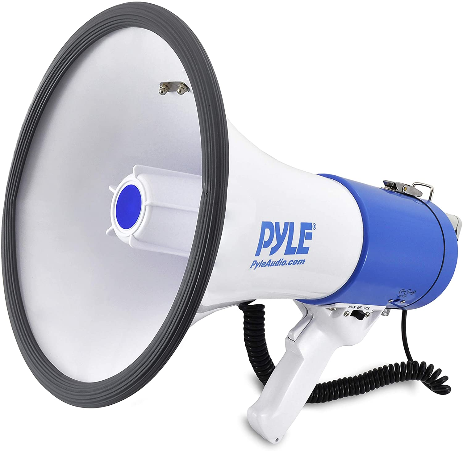 Pyle Megaphone Speaker PA Bullhorn with Built-in Siren - 50 Watts Adjustable Volume Control and 1200 Yard Range - Ideal for Football, Baseball, Basketball Cheerleading Fans & Coaches or for Safety Drills (PMP50)