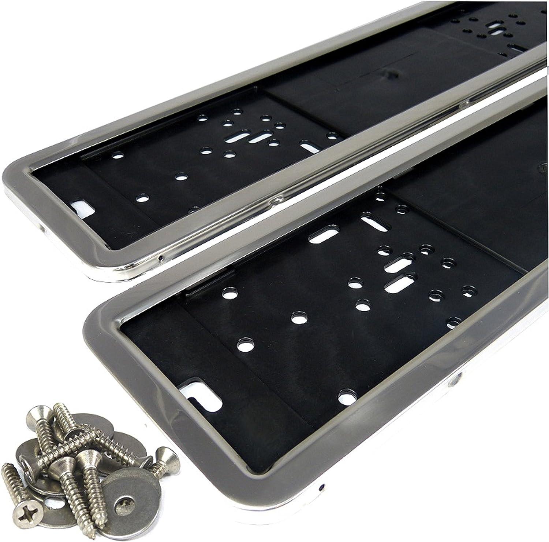 L /& P SMH-A0202/2/x Soportes para matr/ícula 100/% acero inoxidable pulido brillante inox ACERO INOXIDABLE Matr/ícula