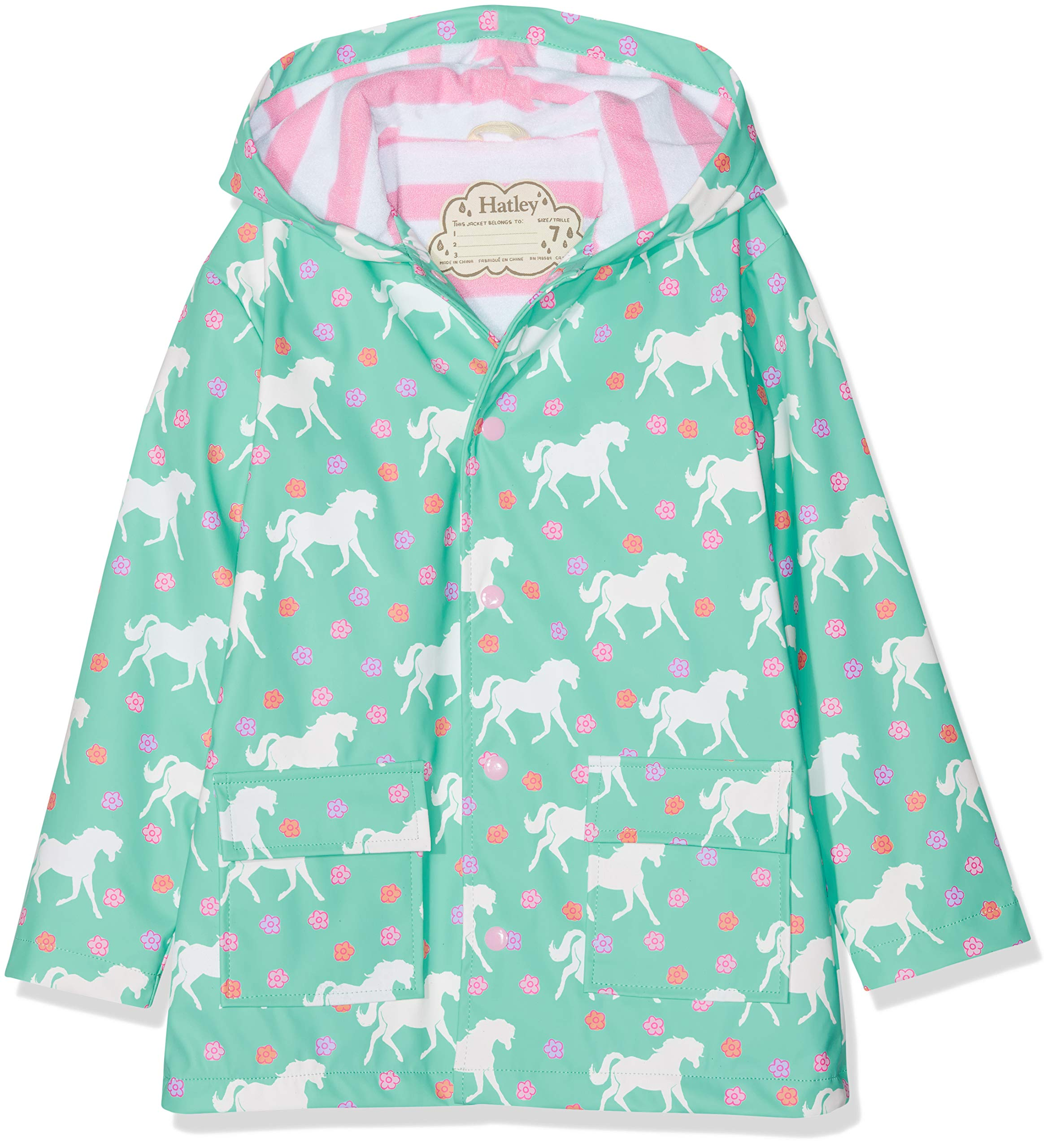 Hatley Girls' Little Printed Raincoats, Color Changing Galloping Horses, 4 by Hatley