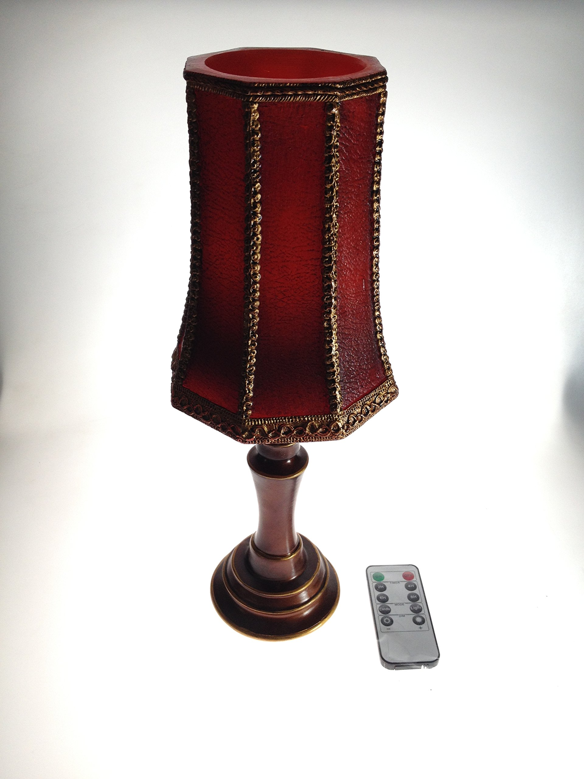 Dark Red & Bronze Lace Led Candle Lamp With Remote Control (14.5''H)