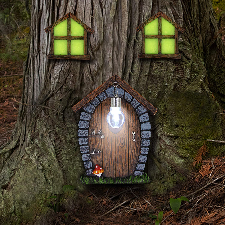 Juegoal Fairy Gnome Home Miniature Window and Door with Litter lamp for Trees Decoration, Glow in Dark Fairies Sleeping Door and Windows, Yard Art Garden Sculpture, Lawn Ornament Décor