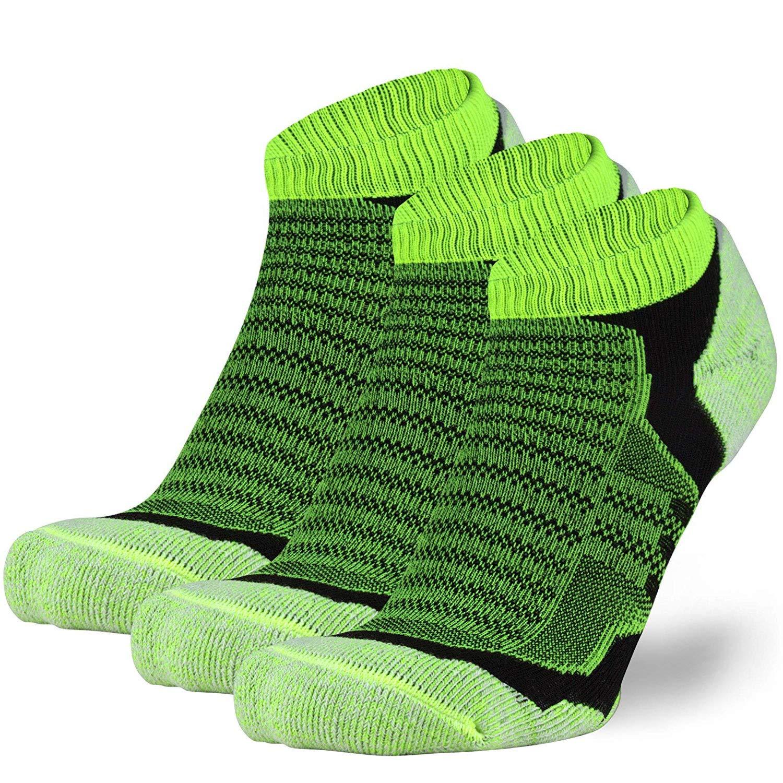 no-showウールRunning Socks – 超軽量メリノウールアスレチックソックス、Trail Socks Large 3 Pairs - Neon Yellow B07SD81WRT