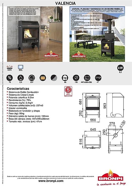 ESTUFA-PLANCHA-BARBACOA CON RUEDAS BRONPI MODELO VALENCIA: Amazon.es: Bricolaje y herramientas