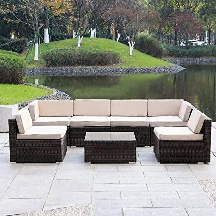 MAGIC UNION Outdoor Patio PE Rattan Wicker Cushion Conversation Set Patio  Furniture 7 Pieces Sofa Set