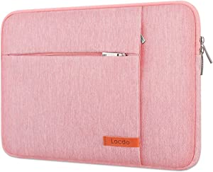 "Lacdo 15.6 Inch Laptop Sleeve Case Computer Bag for 15.6"" Acer Aspire/Predator, Inspiron, ASUS ZenBook Pro 15 VivoBook, HP Pavilion, Lenovo IdeaPad 330, ThinkPad E590, Chromebook Water Resistant, Pink"