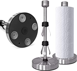 Paper Towel Holder by Posh by Ford- Stainless Steel Paper Towel Holder, Sturdy - Rust Proof with Suction Base Paper Towel Holder, Free Stand Paper Towel Holder for Counter