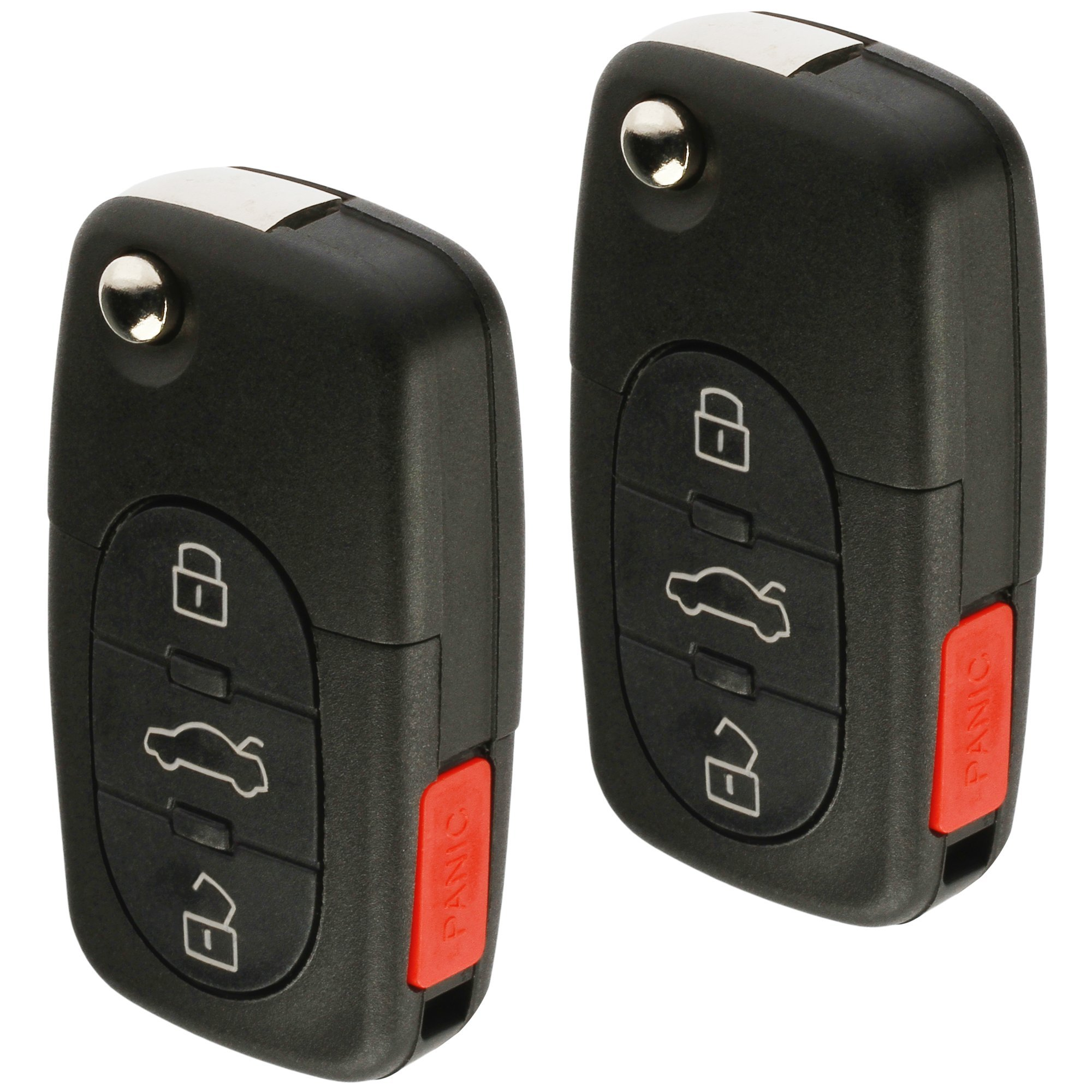 Replacement Keyless Entry Remote Flip Key Fob fits 1998 1999 2000 2001 VW Beetle, Golf, Jetta, Passat (HLO1J0959753F, Set of 2)