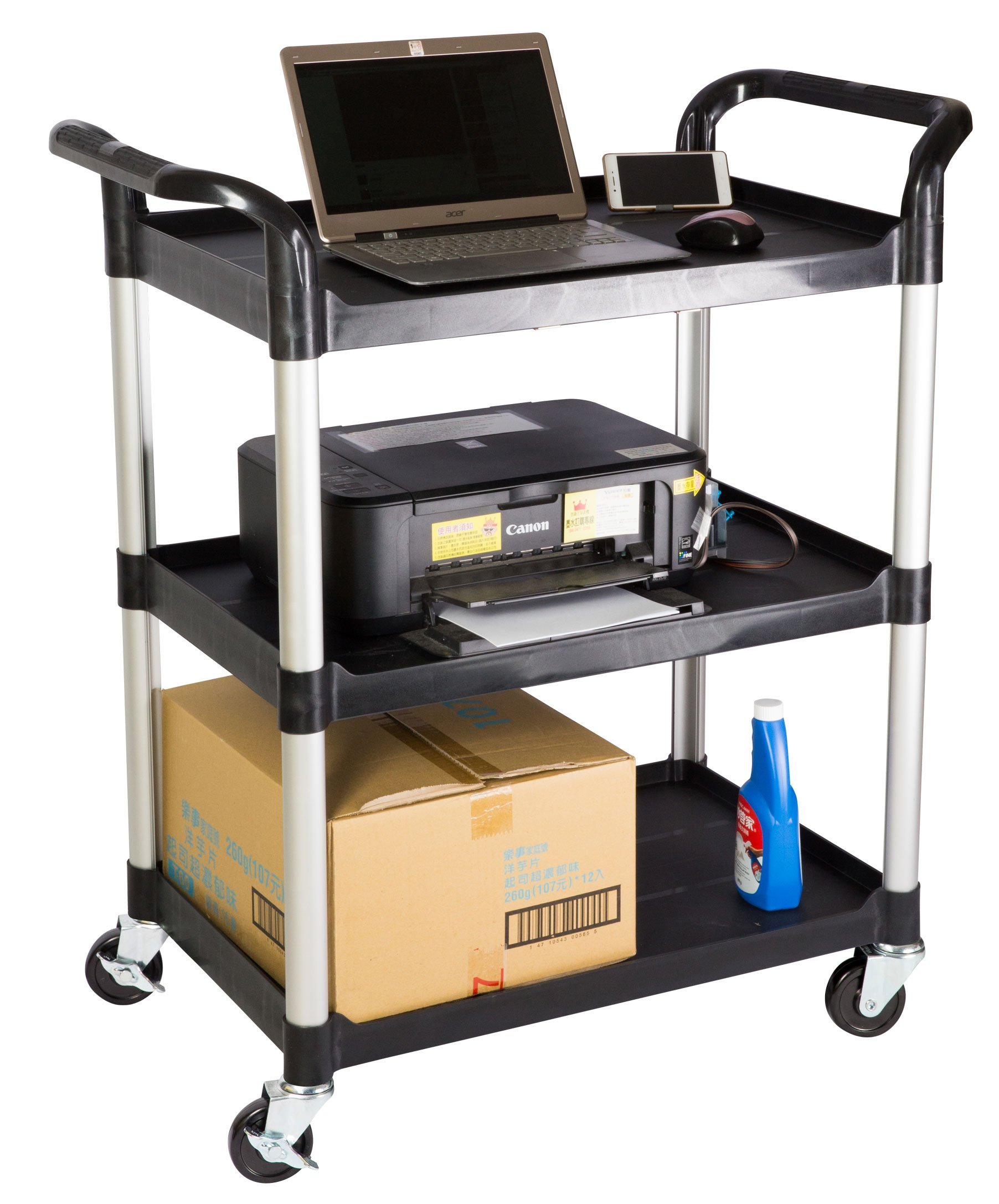 JaboEquip Commercial Multi-Purposed Rolling Utility Carts 3 Tiers, 265 lbs Load Cap.for Lab and Hospitality