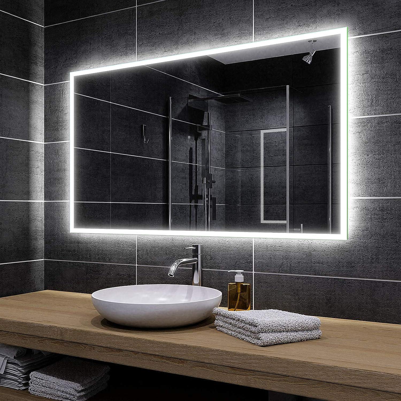 Miroir de Salle de Bain 60x40cm Miroir Mural avec LED Illumination Classe /Énerg/étique A ++ Alasta Miroir Bosten Couleur LED Blanc Froid