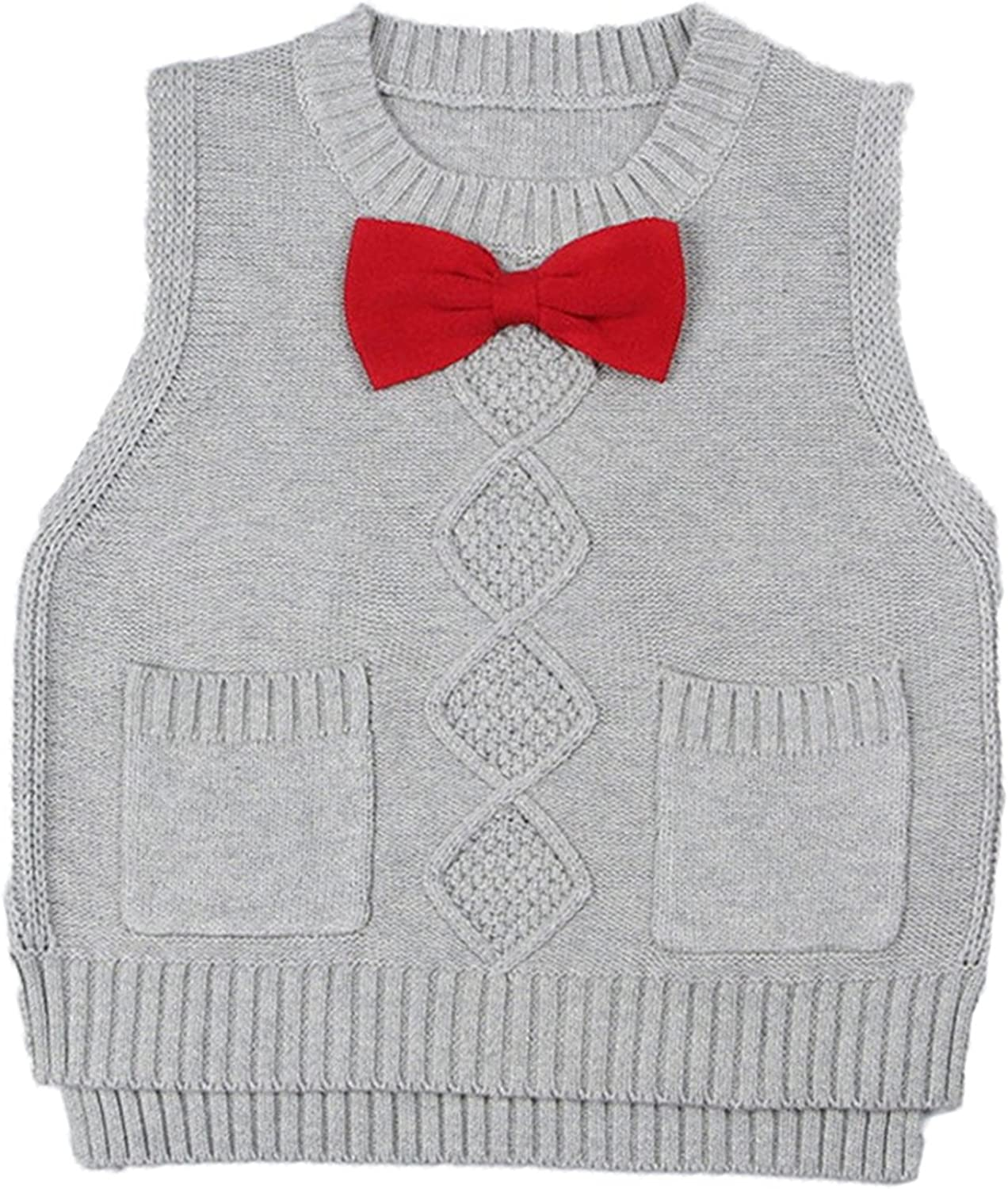 Jojobaby Toddler Baby Boys Girls Cable Knit Vest Cotton Round Neck Fine Knit Pullover Sweater