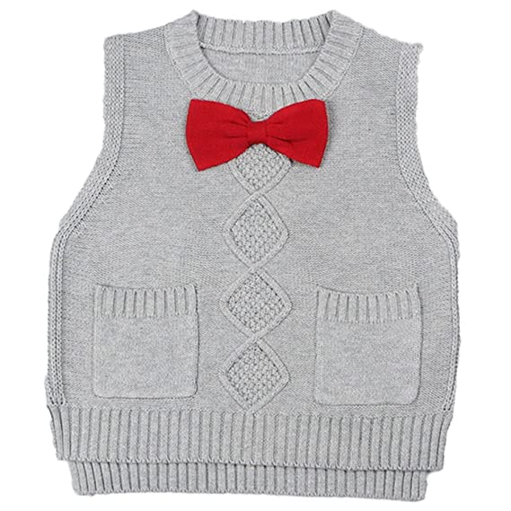 c994ee374 Toddler Baby Boys Girls Cable Knit Vest Cotton Bow Pullover Sweater ...