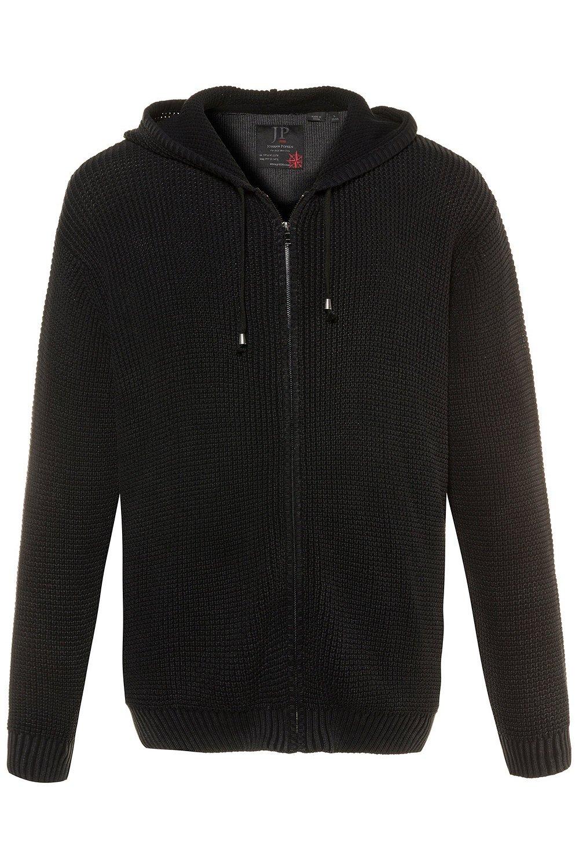 JP 1880 Men's Big & Tall Zip Up Hooded Cardigan Black XXXX-Large 714253 10