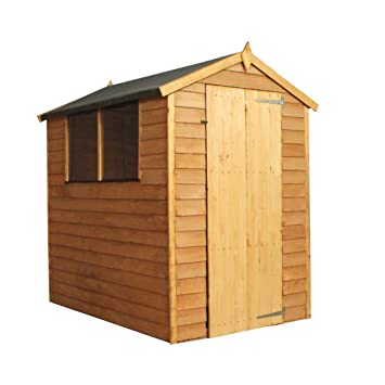 Superieur 6x4 Wooden Overlap Garden Storage Shed, Windows, Single Door, OSB, Apex Roof