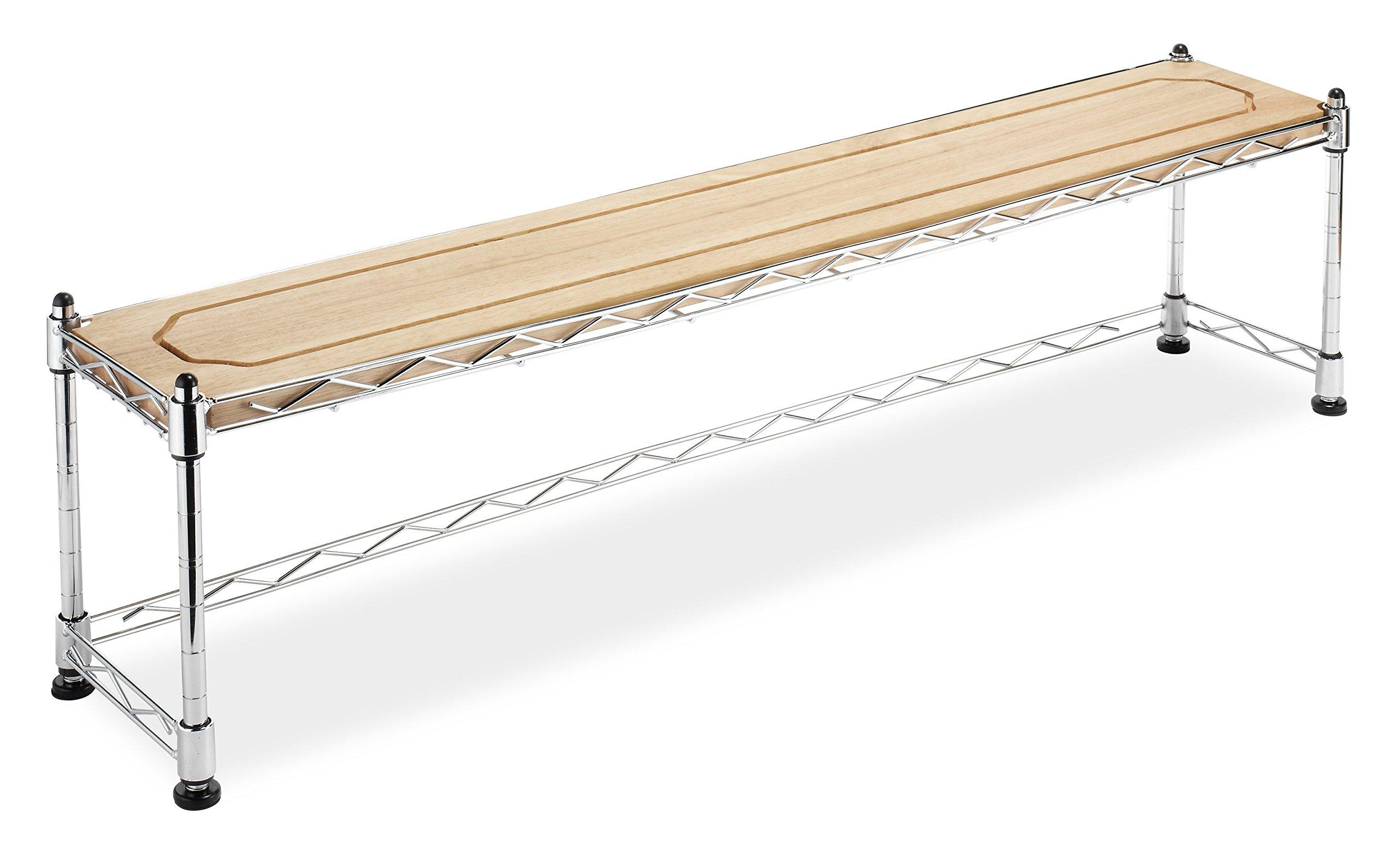Whitmor Supreme Sink Shelf - Multiuse Organizer - Wood and Chrome