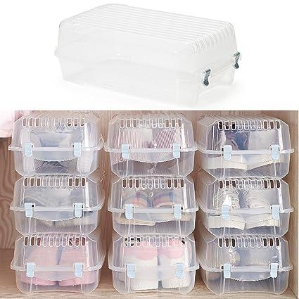 4 PCS Storage Containers Clear Shoe Box Set with blue Buckle  sc 1 st  Amazon.com & Amazon.com: 4 PCS Storage Containers Clear Shoe Box Set with blue Buckle