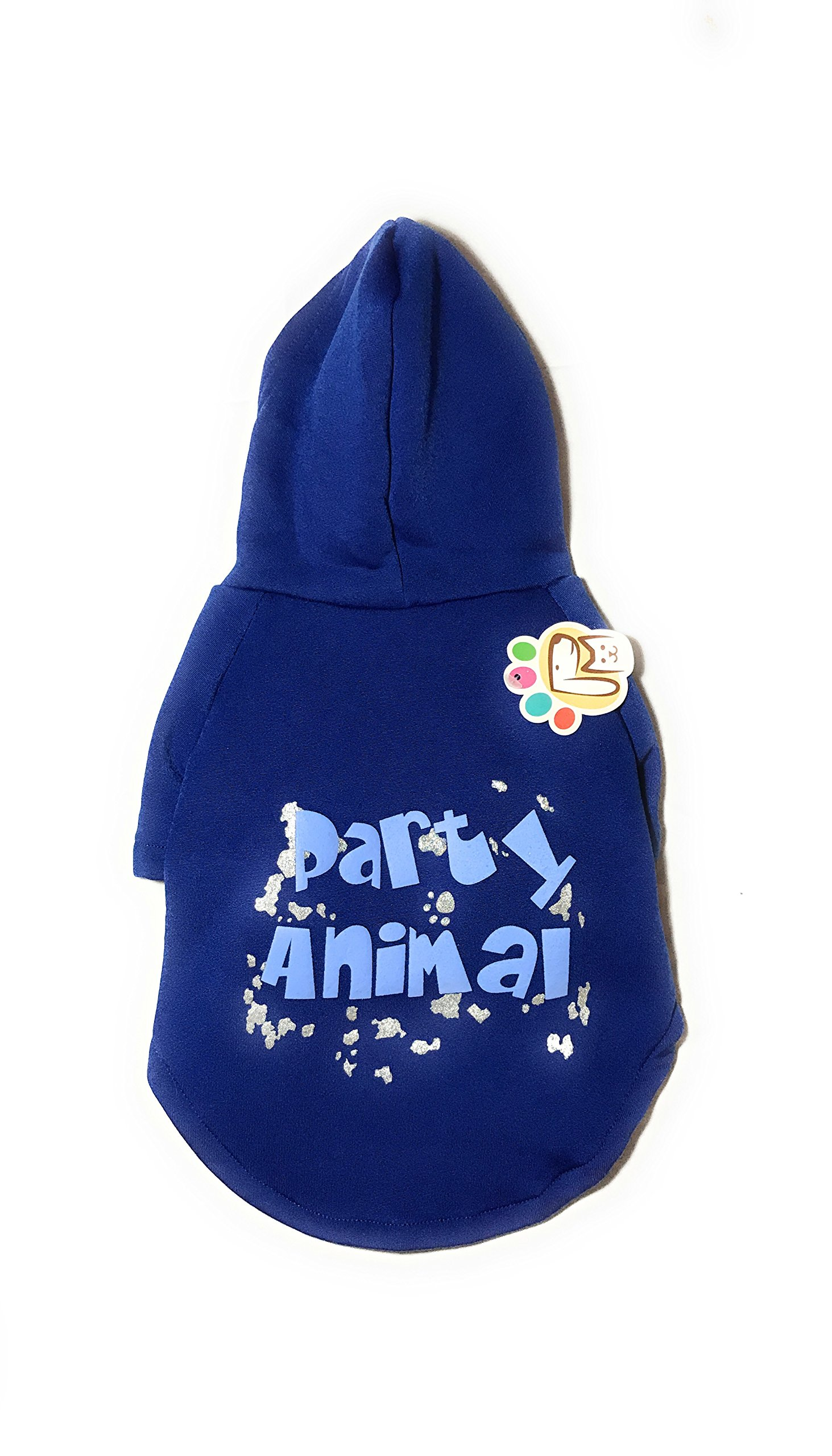Dog or Puppy Sweater Hoodie ´Party Animal´ Blue and Silver for Large or Extra Large Pets XL size/ Extra Large Fashion and Funny Hoodie Shirt Petmont Brand For Boys Or Girls by Petmont (Image #5)