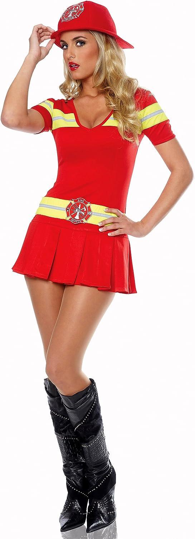 El Carnaval Disfraz bombera con Sombrero Mujer Adulto: Amazon.es ...