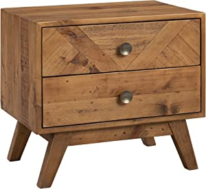 "Amazon Brand - Stone & Beam Modern Farmhouse Solid Wood Nightstand with 2 Drawers, 25.5""W, Natural Finish"
