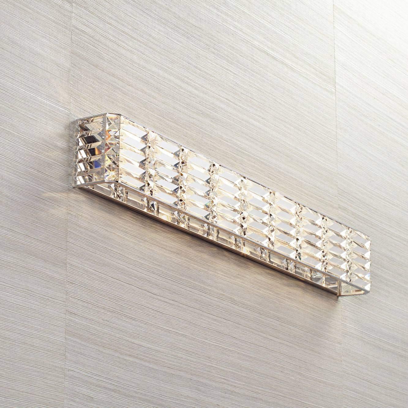 "Vivienne Modern Wall Light Chrome Cut Crystal 35"" Vanity Fixture Bathroom Over Mirror Bedroom"