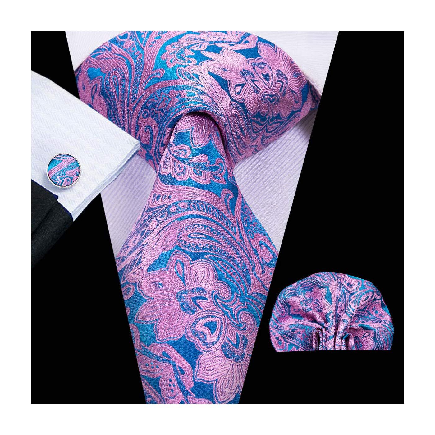 Hi-Tie Men's Floral Ties With Handkerchief Cufflinks Gift set Jacquard Woven Silk Necktie Tie Set