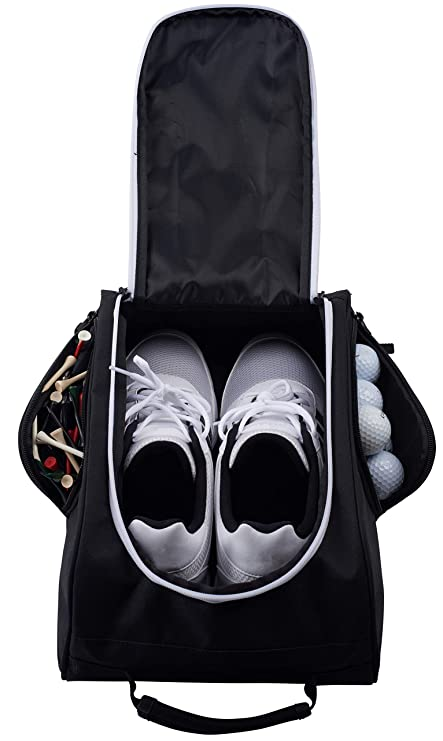e88e1db688 Athletico Golf Shoe Bag - Zippered Shoe Carrier Bags with Ventilation    Outside Pocket for Socks