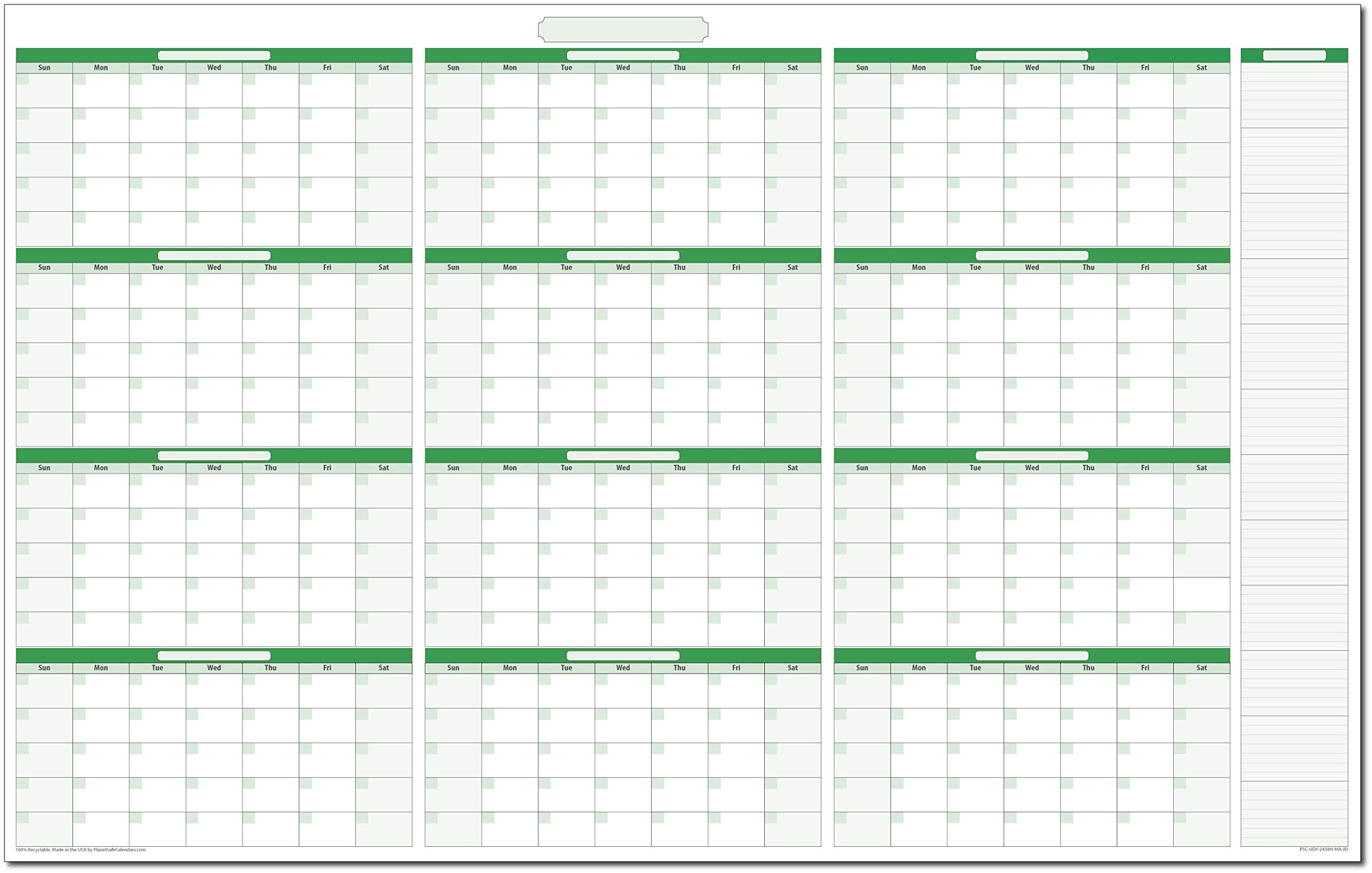 12-Month Yearly Undated Horizontal Dry/Wet-Erasable Wall Calendar Kit: 24'' x 38'' by PlanetSafe Planners