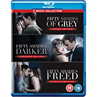 Fifty Shades Trilogy - Includes full Theatrical & Extended versions of Fifty Shades of Grey + Fifty Shades Darker + Fifty Shades Freed (Region Free Blu-ray   UK Import   No Slipcase)
