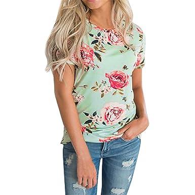 Longra Camisetas Mujer, Camisa de Manga Corta para Mujer Imágenes Casual Camiseta Mujer Ropa de Mujer EN Oferta Suelto Tops Blusas de Mujer Elegantes de ...