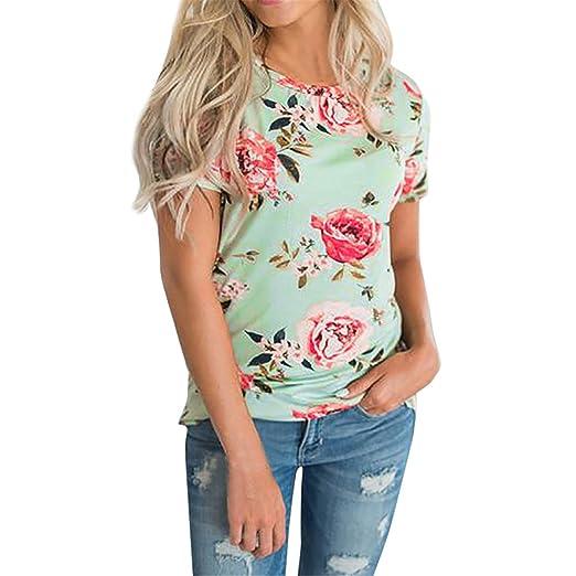 camisetas mujer, Longra ☆ Camisa de Manga Corta Para Mujer Imágenes Casual Camiseta Mujer Ropa de Mujer EN Oferta Suelto Tops Blusas de Mujer Elegantes de ...