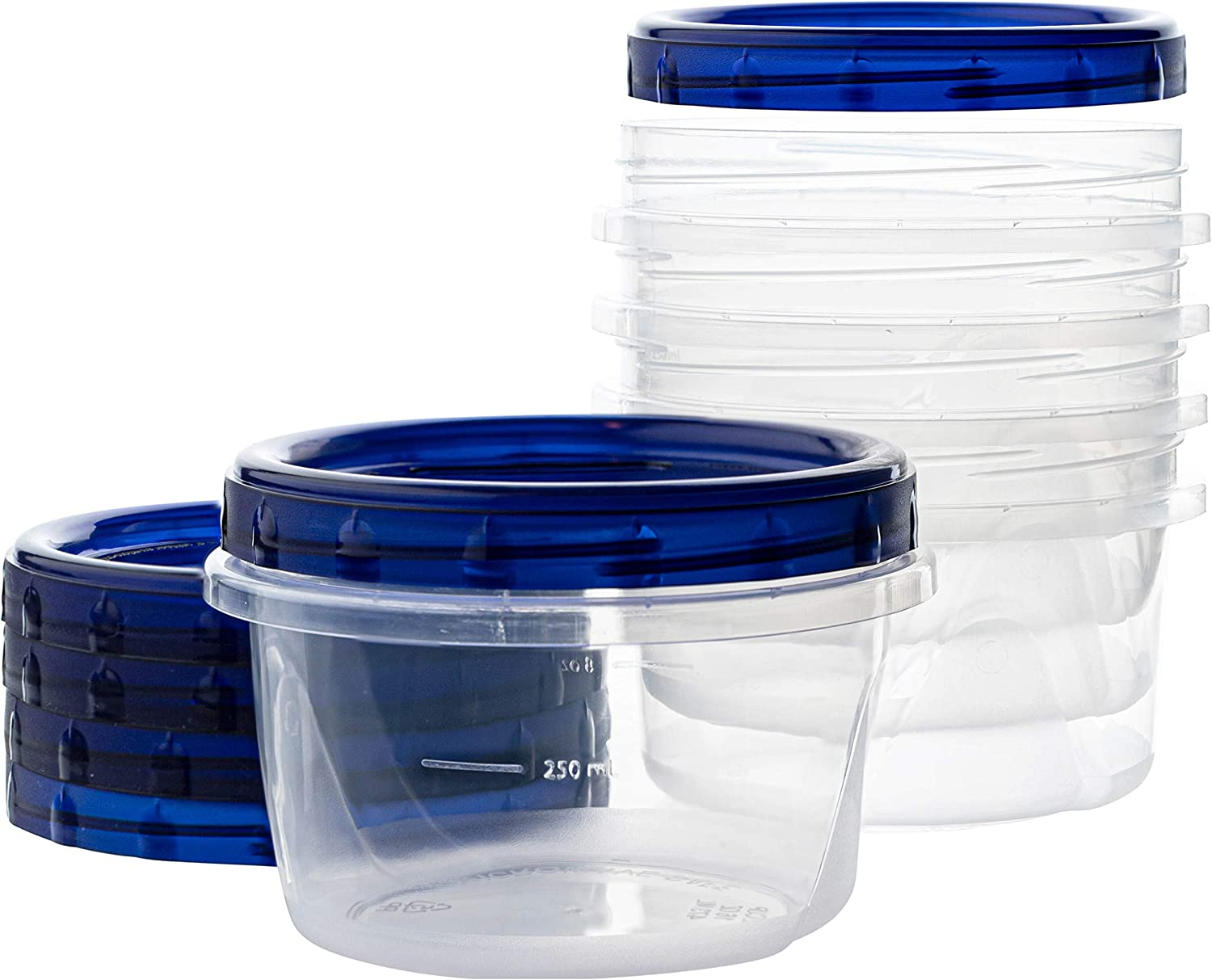 [16 oz 5 Pack] Twist Top Deli Containers Clear bottom With blue Top Twist on Lids Reusable, Stackable, Food Storage Freezer Container