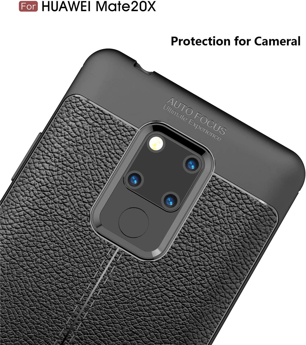 Gray Flexible Slim Case with Leather Texture Grip Pattern and Shock Absorption TPU Cover for Huawei Mate 20X Cruzerlite Funda Huawei Mate 20X Funda Mate 20X