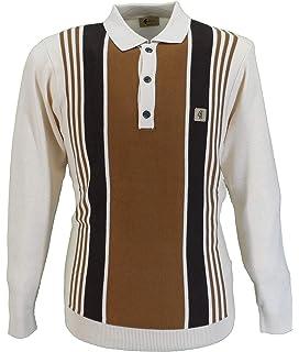 Gabicci Mens Vintage Briar 60s Retro Stripe Panel Polo Shirt
