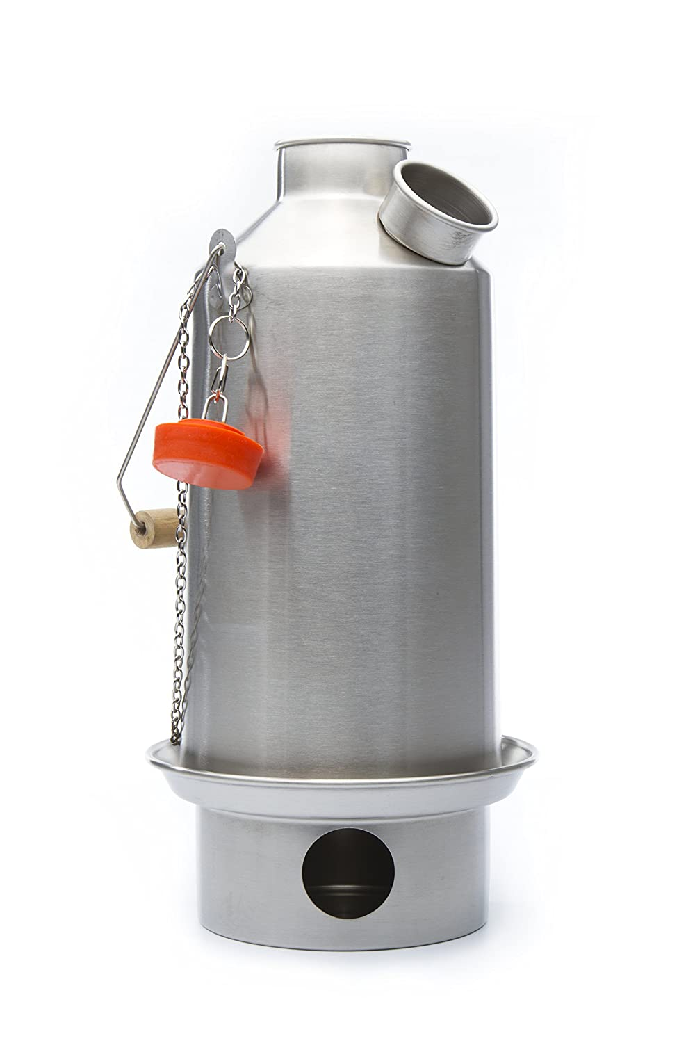 'Base Camp' Stainless Steel Kelly Kettle® 1.6 ltr (NEW MODEL - Now with Green Whistle which replaces the Orange Stopper) Camping Kettle and Camp Stove in one. Ultra fast lightweight wood fuelled stove. NO Batteries, NO Gas, FREE Fuel! For fishing, hunting