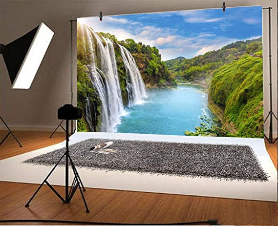 CdHBH 10x8ft Beautiful Landscape Backdrop Gorge Mountain Waterfall Blue Sky White Cloud Vinyl Photography Background Attraction for Vacation Holiday Video Display TV Film Production Photo Booth Prop