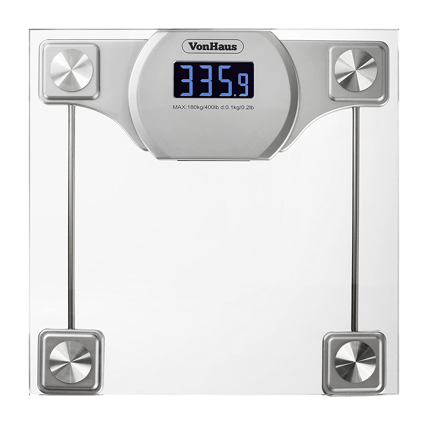 Amazon scale bathroom - Amazon Com Vonhaus Digital Bathroom Scale Glass Silver Body Weight Scales With Large Lcd Display 400 Pounds 180 Kg Capacity Health Personal Care